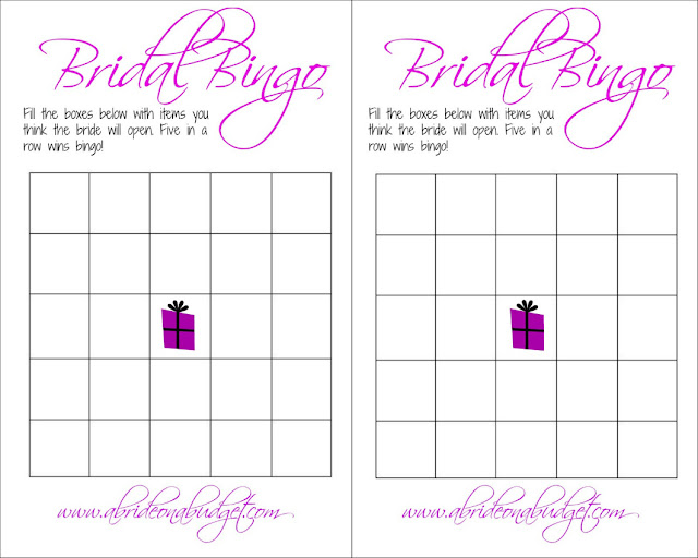 Bridal bingo is such a fun bridal shower game! Get a bridal bingo board for FREE from www.abrideonabudget.com.