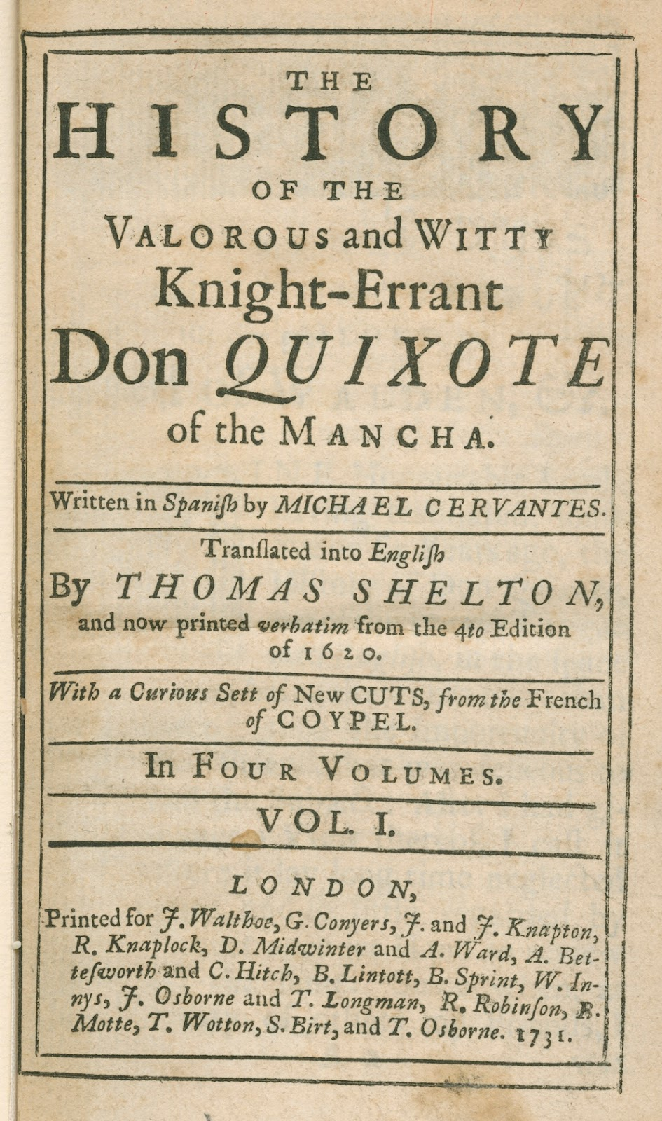 Cervantes_Don Quixote 1731 v1 title page l a times crossword corner  at edmiracle.co