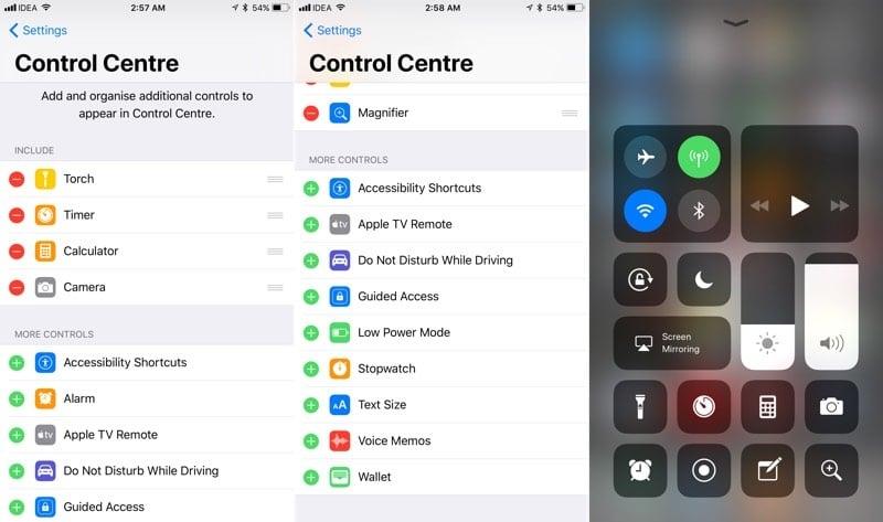 Control Center iPhone iOS 11