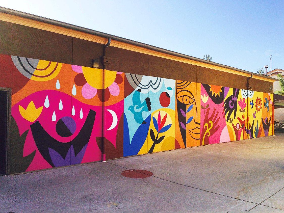 Rafael l pez studio for California mural