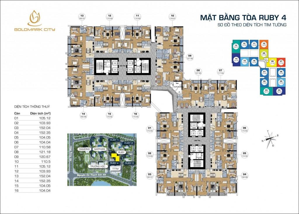 Thiết kế tổng thể tòa RUBY 4 dự án Goldmark City 136 Hồ Tùng Mậu: