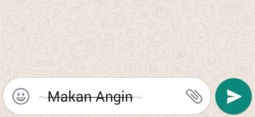 Membuat tulisan Dicoret pada WhatsApp