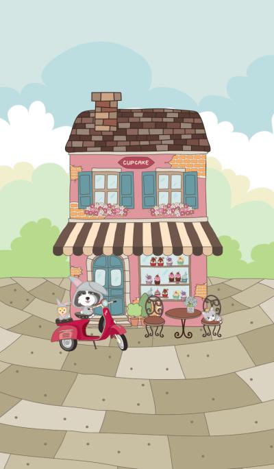 Doggi in sweet cupcakes shop