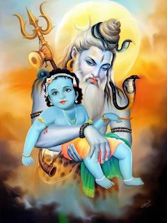 Shiv carrying Krishan on his lap,,, BHole ki goad mei kaanha