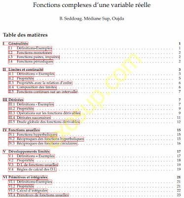 cours analyse complexe fonctions complexes d'une variable réelle Médiane Sup Oujda