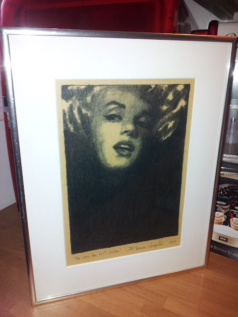 """Marylin Monroe Sees Her Last Visitor"" 1999 Charcoal on Paper by F. Lennox Campello"