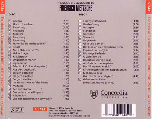O Púbis da Rosa: THE MUSIC OF FRIEDRICH NIETZSCHE [1998] V A  / ATMA
