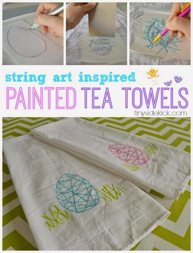 Spring inspired painted tea towels.