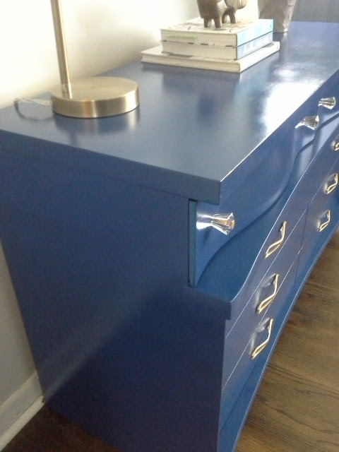 Mid Century Modern blue dresser