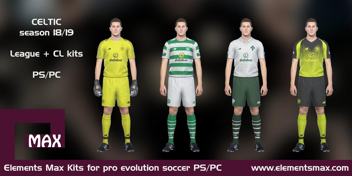 finest selection 31c03 d75c1 Elements MAX Kits: Celtic PES Kits 2018/19