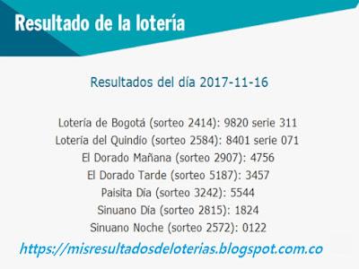 Como jugo la lotería anoche | Resultados diarios de la lotería y el chance | resultados del dia 16-11-2017