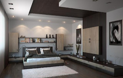 Plafon gypsum pada kamar tidur