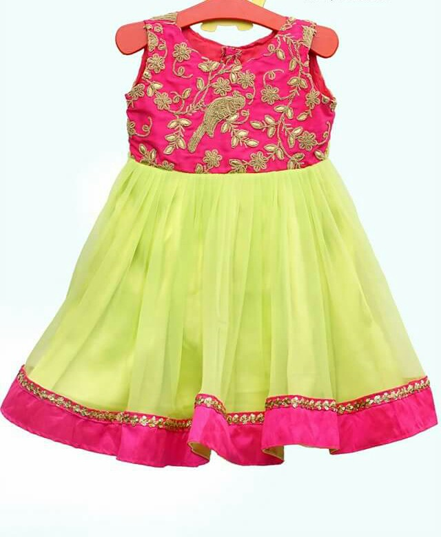d5fff5f38 Simple Frock with Floral Parrot Design - Indian Dresses