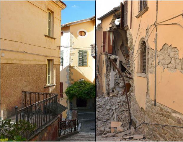 Antes y después del terremoto de Italia. 14 fotografías.