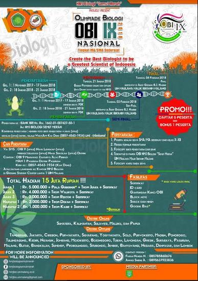 Olimpiade Biologi Nasional 2018 di UIN Maulana Malik Ibrahim Malang