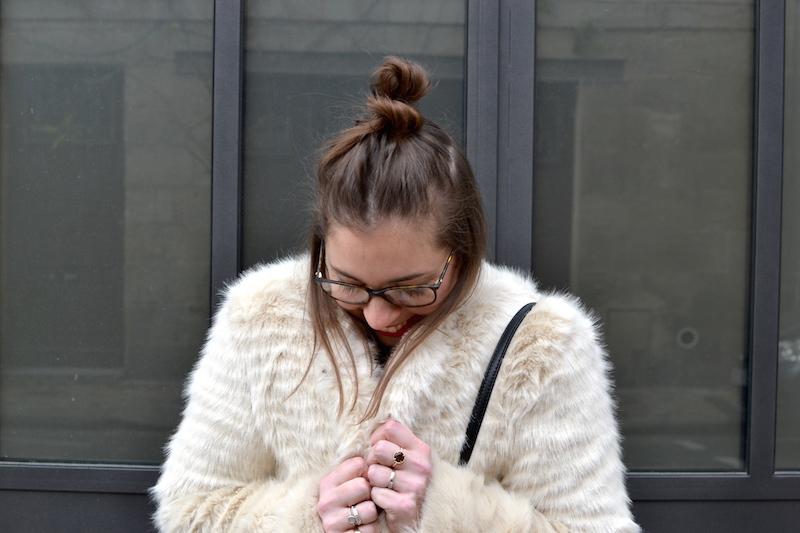 manteau fausse fourrure beige Pimkie