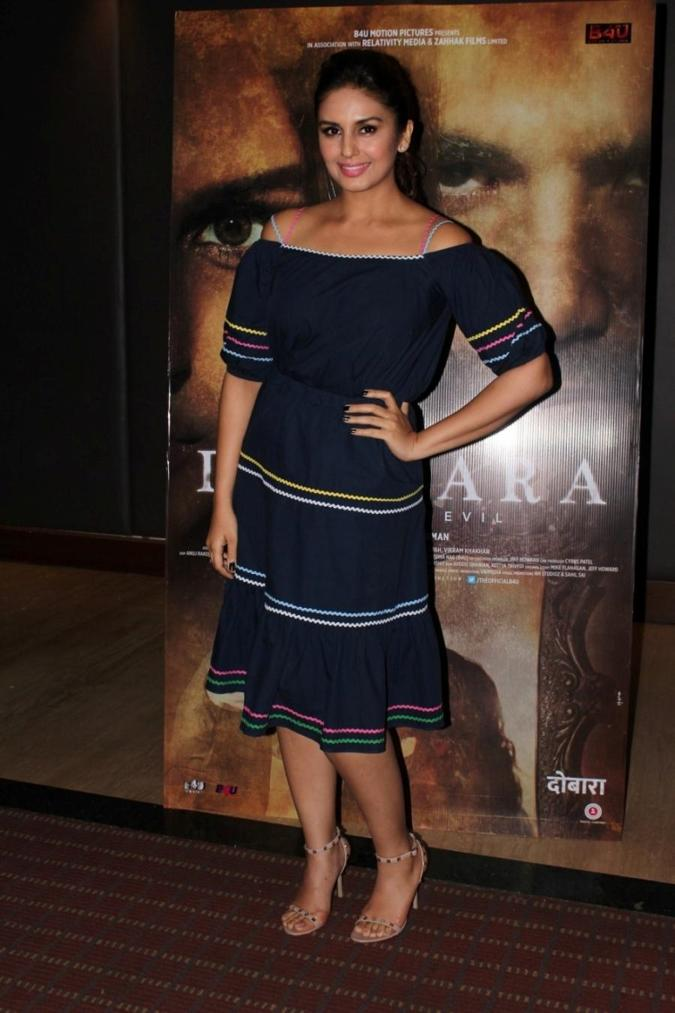 Mumbai Bollywood Celebrities Stills In Blue Dress Huma Qureshi