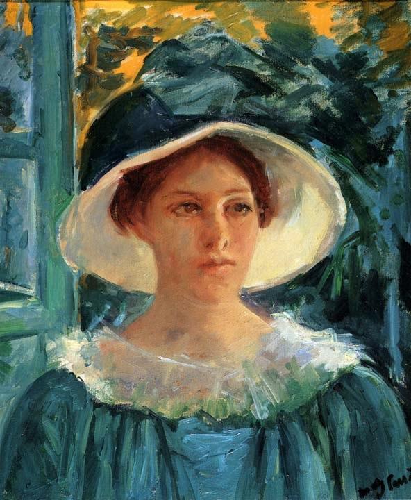 Jovem de Verde ao Ar Livre - Pinturas de Mary Cassatt | Mulheres na pintura