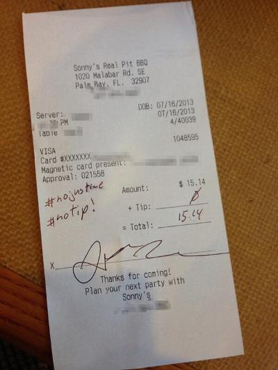 Funny! Check out this 'tip' a white waitress got from a ...