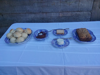 Partial Tea Table Spread for 1850s Quilting Event