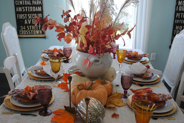 Thanksgiving tablescape, Fall tablescape, Peach colored pumpkins, Gold chargers, Tablescape