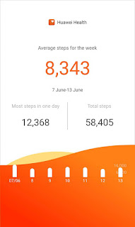 Photo of my step count from June 7-13