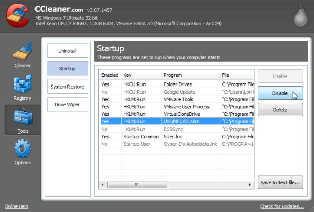 mematikan program yang berjalan dengan ccleaner