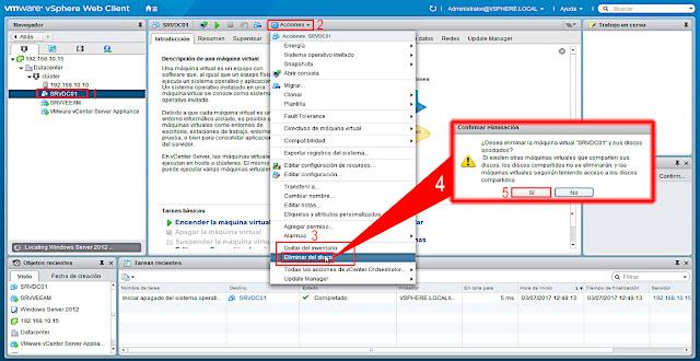 VMware 6.5.0: Eliminar una máquina virtual del del inventario y también del almacén de datos.