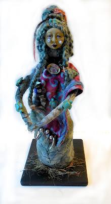 Little Sister of the Abalone Turtle Women Art Doll
