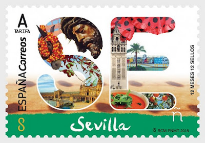 Sevilla - 12 meses, 12 sellos -  Sello emitido el 1 de octubre de 2018