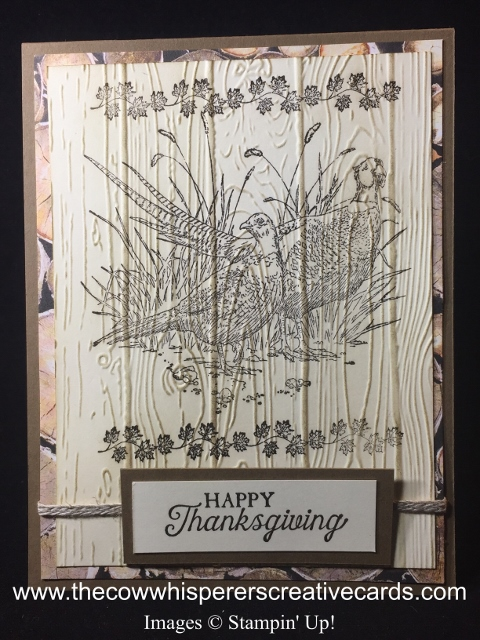 Card, Pleasant Pheasants, Wood Textures Paper, Thanksgiving