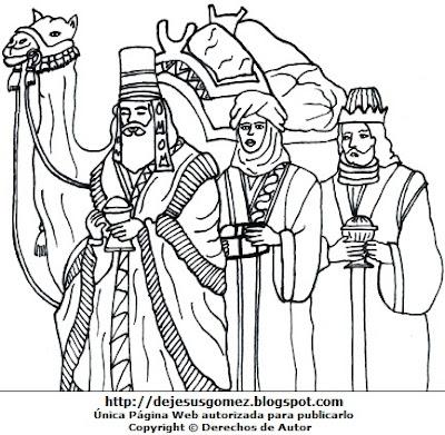 Dibujo de los Tres Reyes Magos para colorear, pintar e imprimir. Imagen de los Tres Reyes Magos de Jesus Gómez