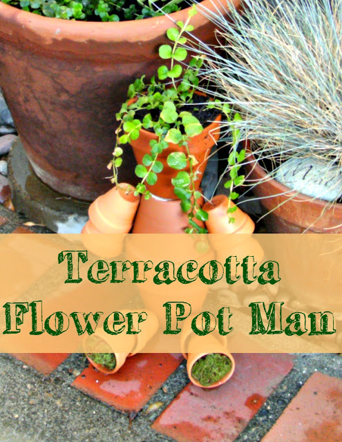 Terracotta flower pot man