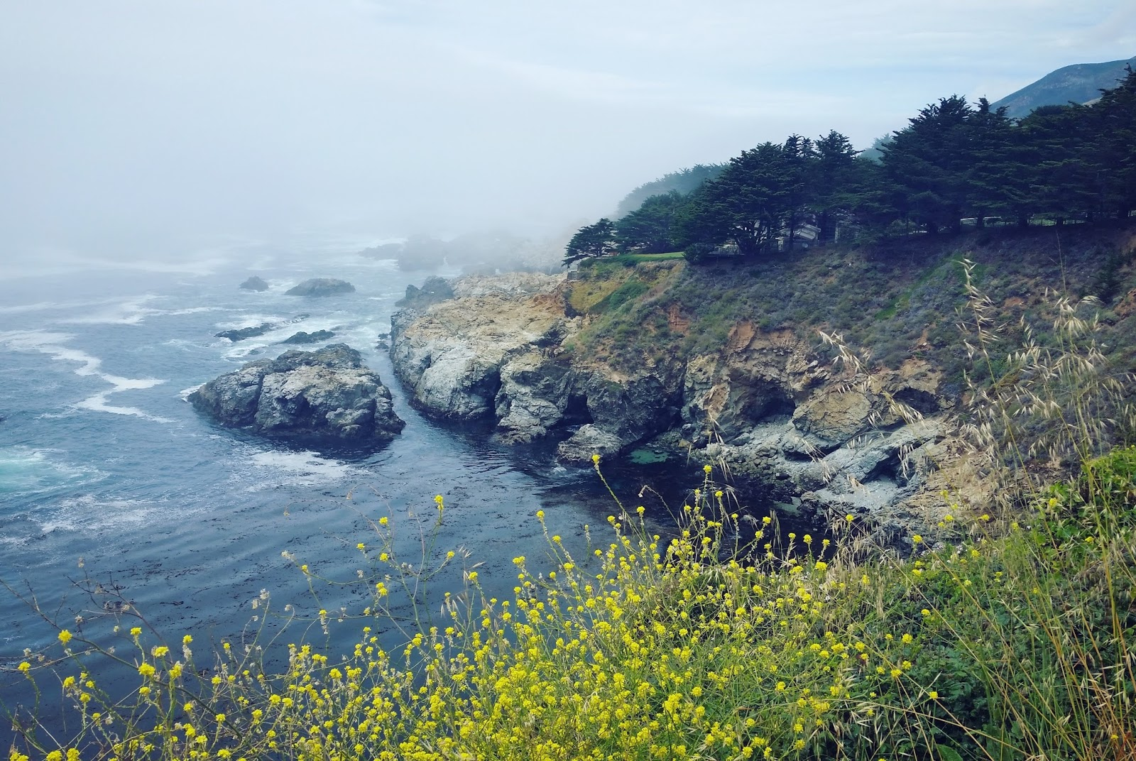 A foggy day off the coast of Big Sur, California, only a few hours south of San Francisco. Big Sur is a perfect weekend trip from the San Francisco Bay Area.