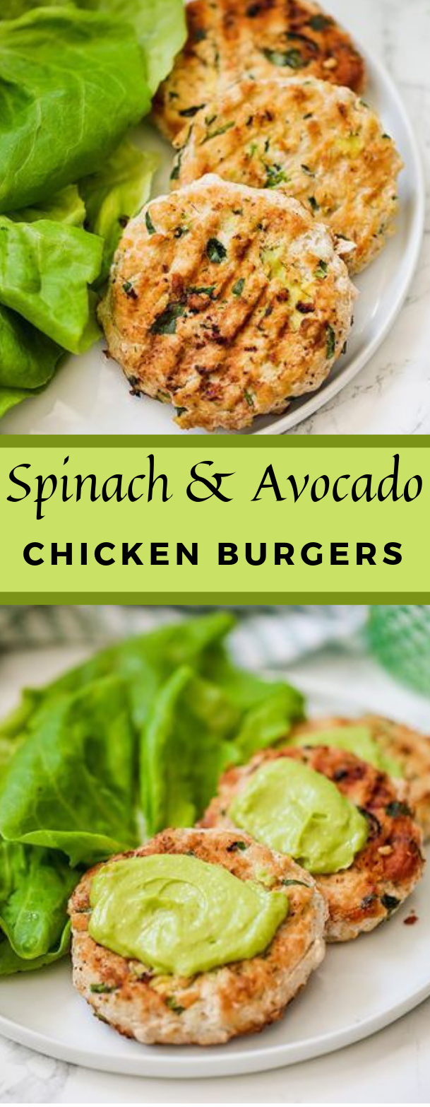 Spinach Avocado Chicken Burgers #familycooking #healthyeating