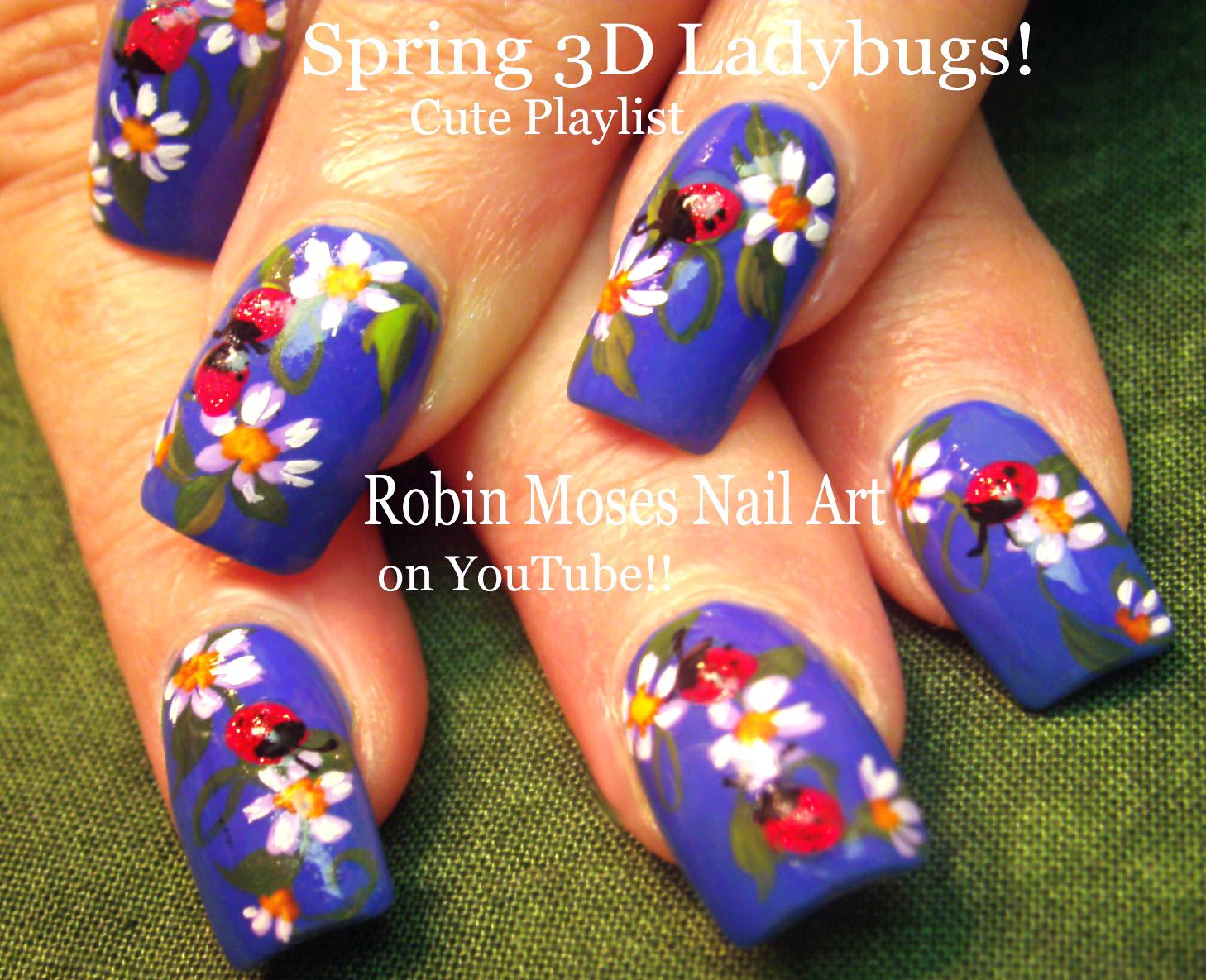 Nail Art By Robin Moses Ladybug Nail Design Tutorial
