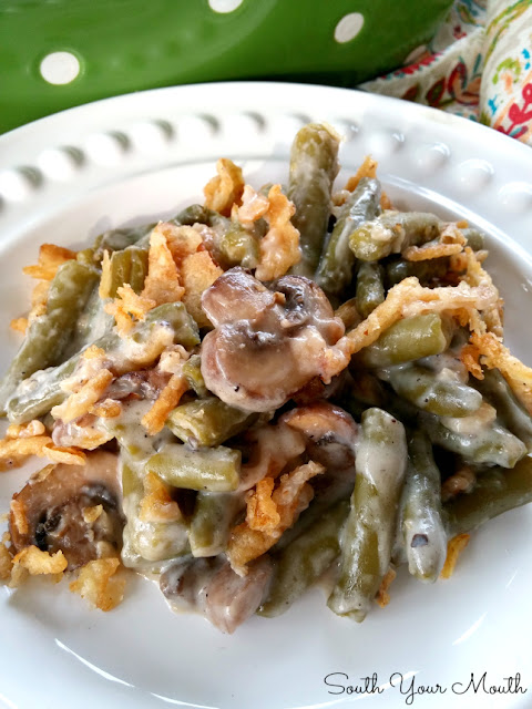 Supreme Green Bean Casserole - a quick and easy version of a classic recipe made extra special with buttery sauteed mushrooms!