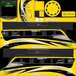 Yg menjadi menarik untuk saya review adalah motif garis lurus yg melengkung ke bawah.    Kombinasi warna dari livery ini sangatlah keren, di tambah lagi di pasang di game bus simulator mu sambil menyetel lagu dangdut atau lain sebagainya.