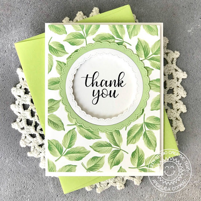 Sunny Studio Stamps: Everything's Rosy Fancy Frames Circles Everyday Greetings Thank You Card by Angelica Conrad