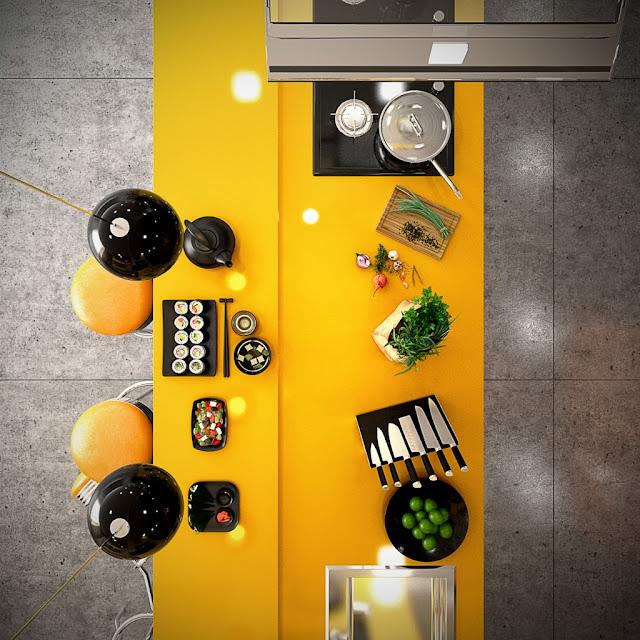 Mengubah Dapur Agar Terlihat Cerah Dengan Warna Kuning