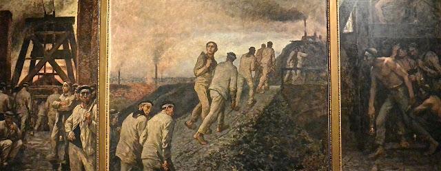 Bruxelles  musée Fin du siècle sur le Mont des Arts  : Constantin Meunier : Triptyque de la Mine