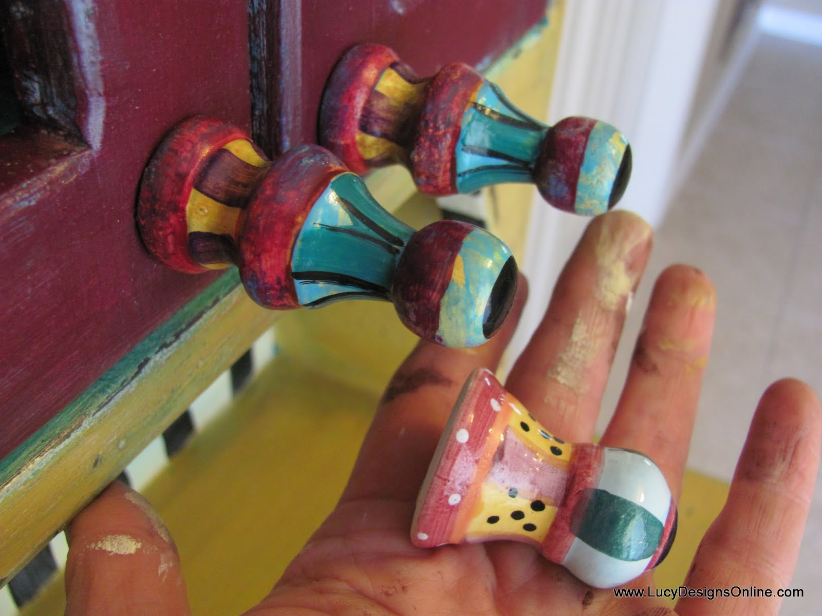 hand painted drawer pulls makeover