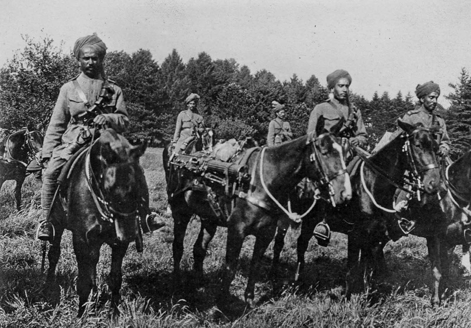 Caballería india del ejército británico. 1916.