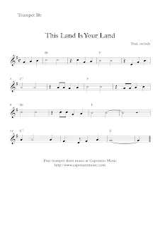 This Land Is Your Land, sheet music for trumpet