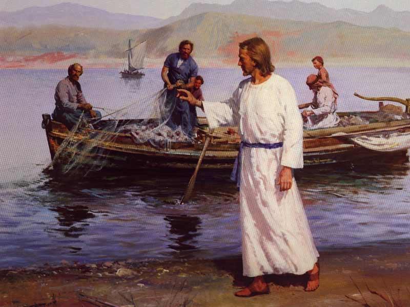 Jesus ruft zu Simon Petrus und den Söhnen des Zebedäus und sie folgen ihm nach.