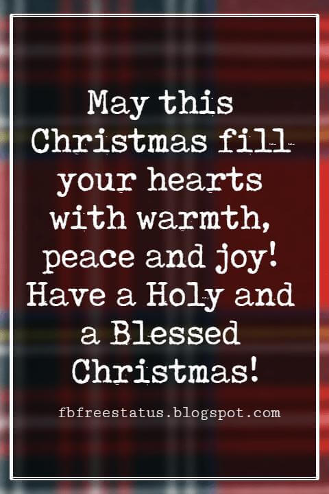 Merry Christmas Wishes, May this Christmas fill your hearts with warmth, peace and joy! Have a Holy and a Blessed Christmas!
