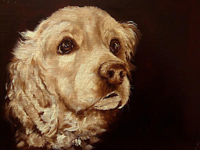 Brown study, monochrome oil painting of a spaniel, spaniel with big brown eyes, pet portrait by karen