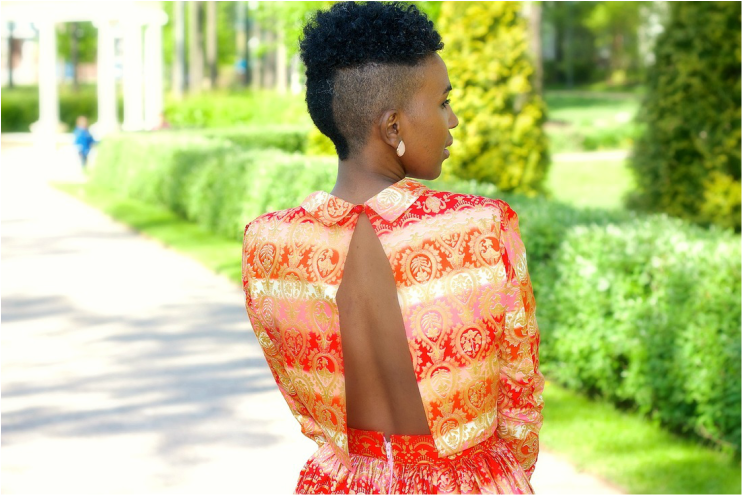 open back of african print outfit