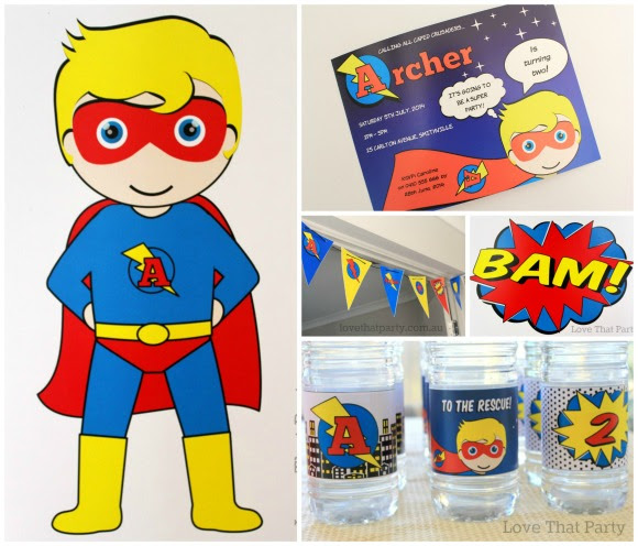 image of superhero birthday party decorations, bunting, water bottle wraps, superhero invitation