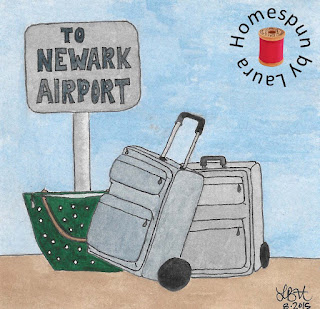 watercolor painting drawing of luggage